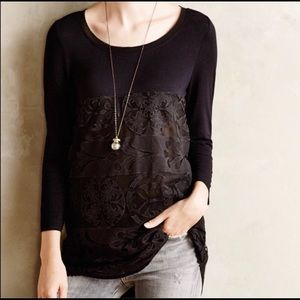 Anthropologie lace lined tunic size L.